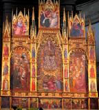 Assumption of the Virgin and Saints triptych panels up closer