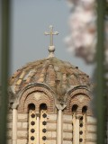 peeping thru a fence: old church on Ancient Agora