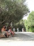 taking a break from the heat along the Panathenaic Way