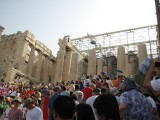 tourists going up the Propylaea (entrance to Acropolis)