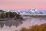 Oxbow Bend autumn pink sunrise