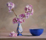 Cherry Blossoms and Blue Bowl 13 x 15