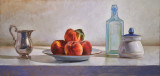 Peaches and Blue Glass 12 1/2 x 26 1/2