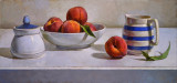Peaches with Blue and White 11 x 23