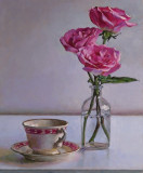 Roses and cup 17 x 14