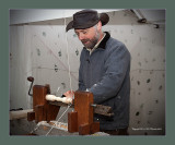 This Lathe is driven by a Spring bow treadle device.