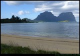 Lord Howe Island - settlement beach south to Mt Gower