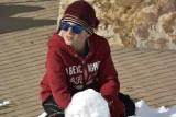 Colten making a Snowman