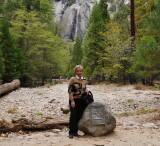 Yosemite falls almost dry witrh Sue