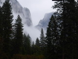 Half dome from room 423 with rain and fog