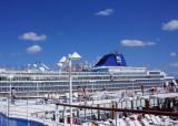Norwegeian Sea docks along side us