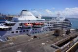 Silverseas docked beside