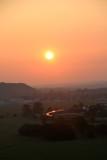 ça y est nous décollons avec un superbe soleil levant en guise de décor!!