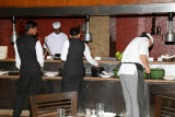 Preparing the salad section of the buffet