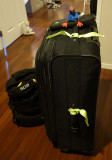 Puke and my bags ready to go