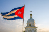 Cuban Flag and Cathedral