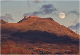 The moon rising from behind Moelwyn bach