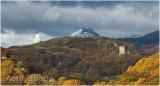 Dolwyddelan castle with Y Lliwedd in the background
