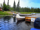 Visit to the lake with a Indian canoe