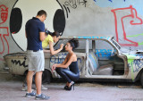 Finishing touches to Giulia's makeup, inside the set.