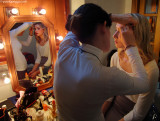 Behind the scenes: Morena is preparing for the Set.  MUA @ work: Susy