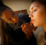 Monique makeup artist is preparing Martina for the photo session