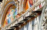 Venice,Italy:main entrance of St. Mark's Basilica, top details...