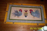 Roosters, Hand painted canvas floorcloth.JPG