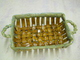 Hand woven stoneware clay bread basket