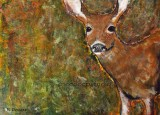 Forest Deer acrylic on gessoboard 5x7