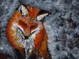 Red Fox acrylic on gessboard 5x7