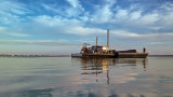 Moored Barge and Crane