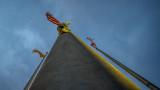 Three Flag Poles at Dawn