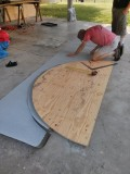 Cutting the shingles from the old template.