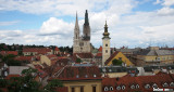 The Zagreb Cathedral and St. Mary's church from the yard of the Church of St. Catherine.