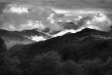 Clouds and Scattered Sunlight Over The Smoky Mountains: North Carolina