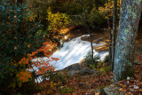 Sunlit Waterfall In Pisgah National Forest