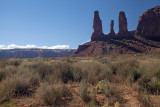 Afternoon Sun On The Three Sisters- Monument Valley