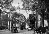 1889 - Original Washington Square Arch, looking uptown