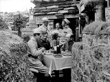 French officers dining in the trenches