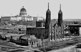 c. 1863 - Trinity Episcopal Church and the unfinished Capitol building