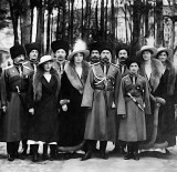 1916 - Tsar and children with Cossacks of the Imperial Guard