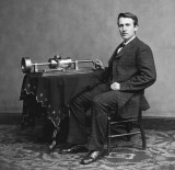 1878 - Thomas Edison with his new invention: the phonograph