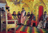 Tsar Mikhail holding council with the boyars