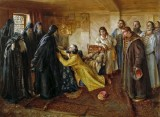 1584 - Ivan the Terrible, wanting forgiveness, begs to be a monk