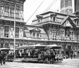 c. 1900 - Fulton Ferry Terminal with horse-drawn streetcars