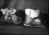 Boots made of reindeer fur adapted for skis