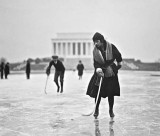 January 1922 - Skating on the Reflecting Pool of the Lincoln Memorial