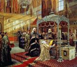 Tsar Alexis praying before relics