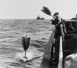 Germans dropping a buoy to mark a mine